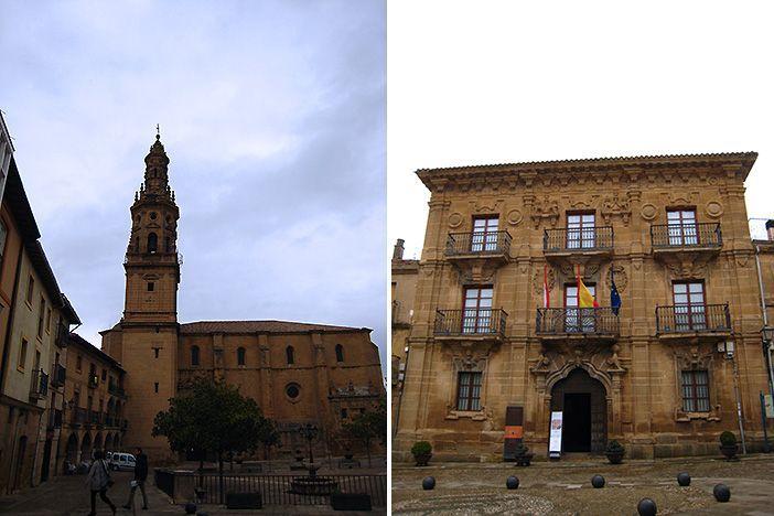 Dos lugares que ver durante tu escapada romántica a Briones, la iglesia de la Asunción y el Palacio del Marqués de San Nicolás, sede del Ayuntamiento.